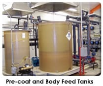 Diatomaceous Earth Filtration Pre-coat and body feed tanks